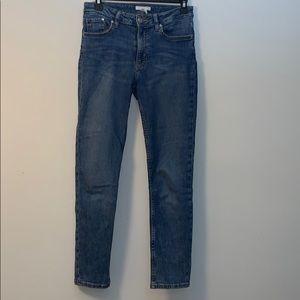 H&M Slim High Waist Ankle Jeans, Denim Blue